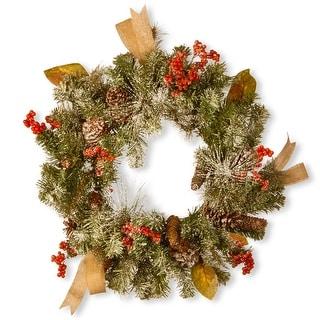Snowy Artificial Christmas Wreath - 24-Inch, Unlit - N/A