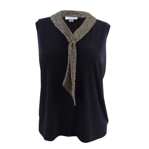 16fb612b26872 Tahari ASL Women's Plus Size Sailor-Collar Shell Top (1X, Black/Bronze) -  black/bronze - 1x