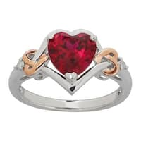 2 1/5 ct Created Ruby Heart Ring with Diamonds in 14K Rose Gold-Plated Sterling Silver - Red