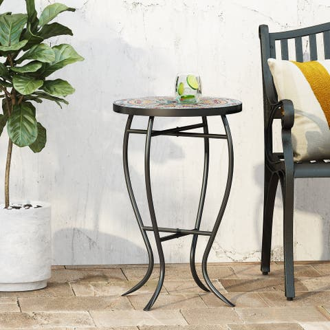 La Crescenta Outdoor Side Table with Tile Top by Christopher Knight Home
