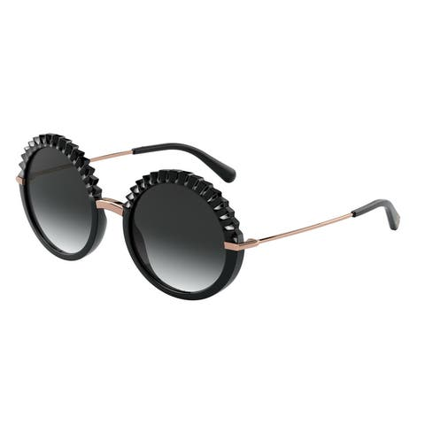 Dolce & Gabanna DG6130 501/8G 52 Black Woman Round Sunglasses