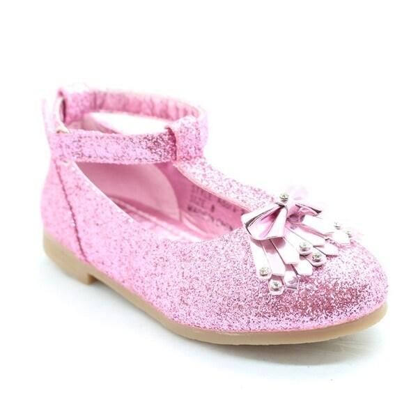 Shop Little Girls Pink Glitter Bow Adorned T-Strap Dress Shoes ... 90baa39f70da