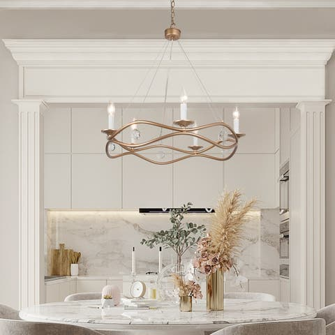 5-Light Modern Wagon Wheel Chandelier Gold Pendant Lighting for Dining Room with White Candle Style