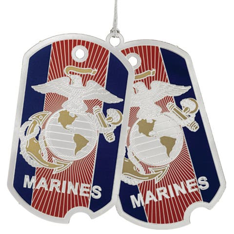 """3"""" Red, Blue and Silver Marine Corps Dog Tags Christmas Ornament"""