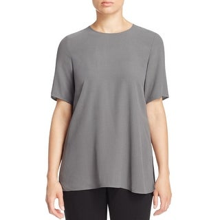 Eileen Fisher Womens Petites Casual Top Silk Boxy