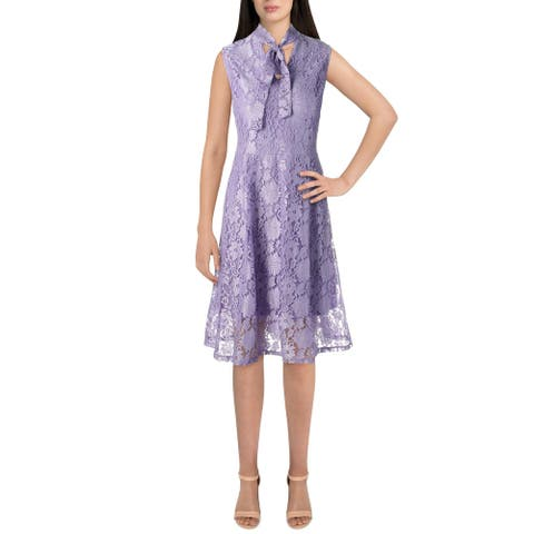 Alexia Admor Womens Cocktail Dress Lace Tie Neck - Purple Impression