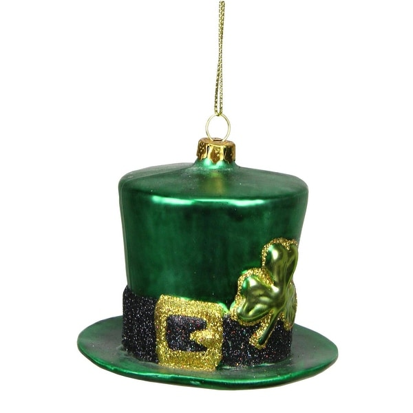 """3.25"""" Luck of the Irish Green, Black and Gold Glittered Glass Top Hat Christmas Ornament - green"""