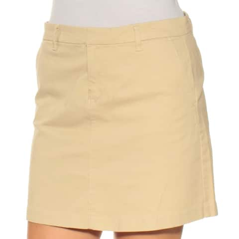TOMMY HILFIGER Womens Beige Pocketed Mini A-Line Skirt Size: 2