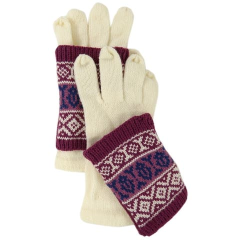 American Rag Women's Tribal Print Two Piece Knit Gloves (One Size, Ivory) - Ivory - OS