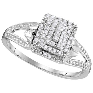 10kt White Gold Womens Round Natural Diamond Cluster Split-shank Fashion Ring 1/7 Cttw
