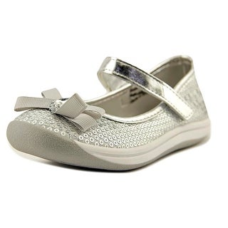 Josmo 47416 Toddler Round Toe Canvas Silver Mary Janes