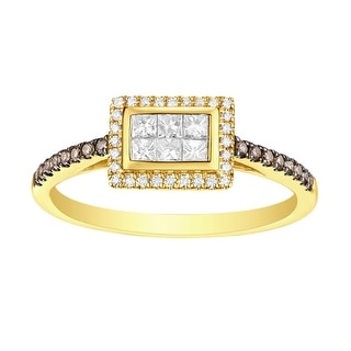 Prism Jewel G-H/SI1 Brown Diamond with Natural Diamond Rectangle Shape Engagement Ring - White G-H