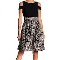 Eliza J Women's Leopard Cold Shoulder A-Line Dress