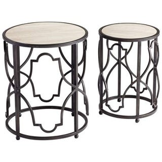 Cyan Design Gatsby Tables Gatsby 18.5 Inch Diameter Iron and Marble Nesting Table - Ebony