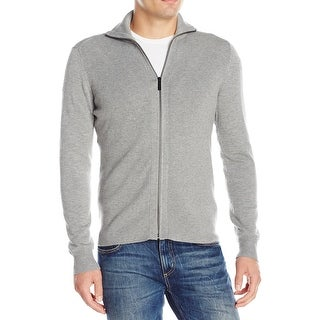 Perry Ellis NEW Smoked Heather Gray Men Size 2XL Full Zip Ribbed Sweater