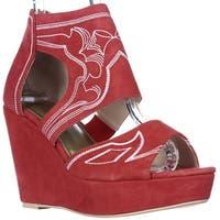 June Ambrose 408346 Embroidered Wedge Platform Sandals, Red - 8.5 us