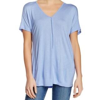 Vince NEW Light Blue Womens Size Large L Seamed Front V-Neck Knit Top