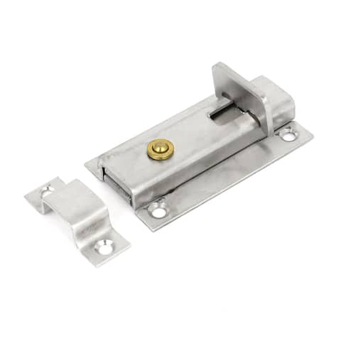 """Unique Bargains Bathroom Spring Push Button Automatic Lock Stainless Steel Door Bolts Latch 3.5"""""""