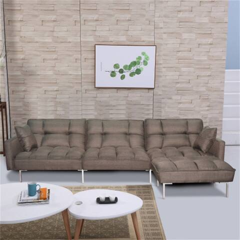 Polyester Fabric Folding Sofa bed,Sectional sleeper with 2 pillows