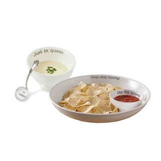 Mud Pie Chip Dip Queso Set - Chip Chip Hooray Just in Queso Salsa - White Ceramic Serving Bowls