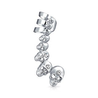 Bling Jewelry Crystal Cartilage Punk Skulls Left Right Cuff Earring Steel
