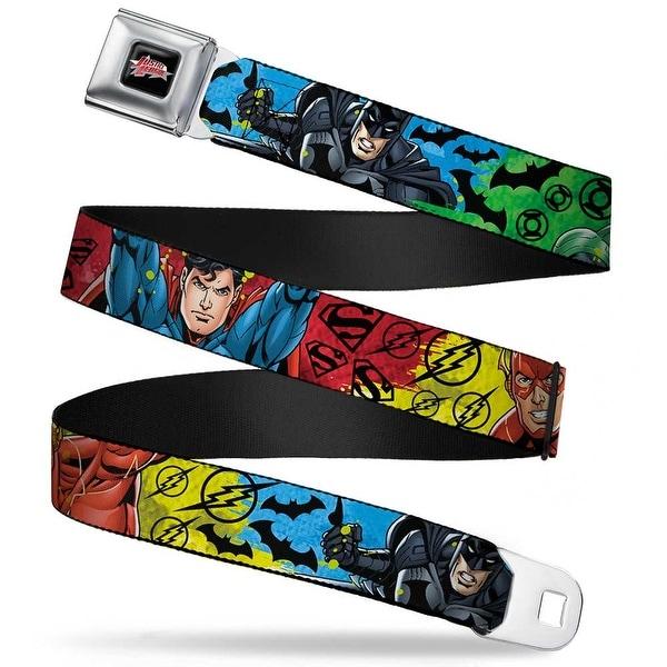 Justice League Star Logo Full Color Black Silver Fade Red Justice League Seatbelt Belt