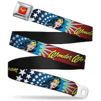 Wonder Woman Logo Full Color Red Wonder Woman Face W Stars Webbing Seatbelt Seatbelt Belt
