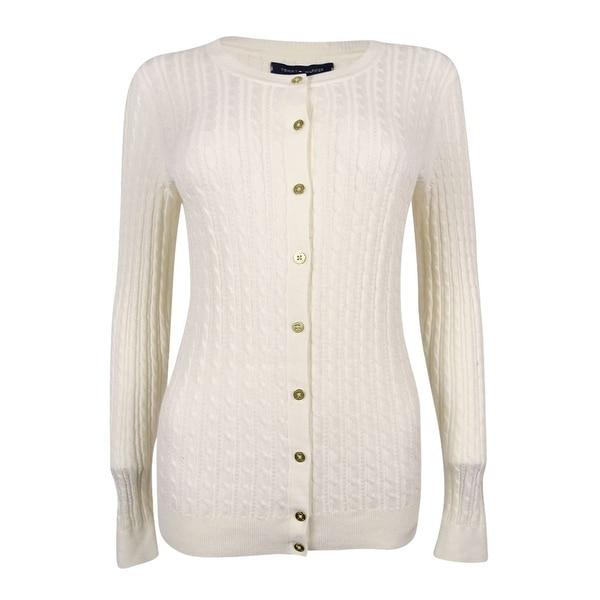 439d31eb4b Shop Tommy Hilfiger Women s Frida Button-Down Cable-Knit Cardigan (Snow  White