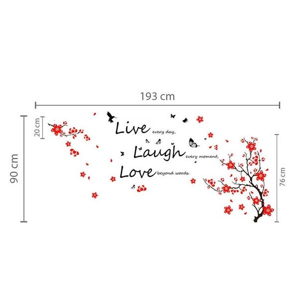Walplus Wall Sticker Blossom Vivid Live Laugh Love Quote Home Decor Overstock 32007199