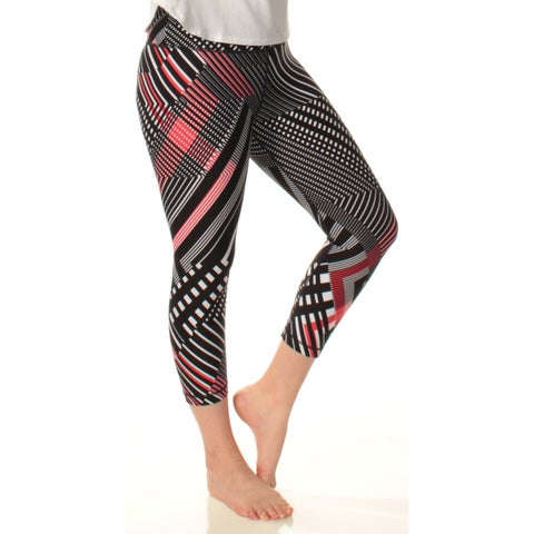 Womens Black Printed Active Wear Cropped Leggings Size 8