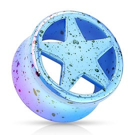 Blue Star Splatter Double Flared Acrylic Saddle Fit Plug (Sold Individually)