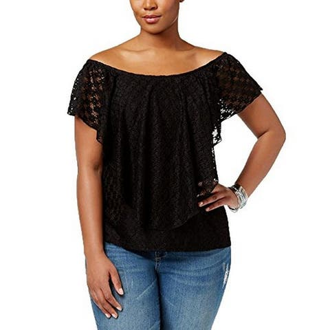American Rag Women's Trendy Plus Size Lace Top (Black, 2X)