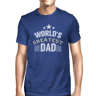 World's Greatest Dad Mens Blue Cotton T-Shirt Vintage Design Tee