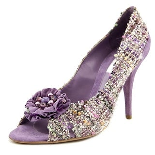 Moschino Ann Women Peep-Toe Canvas Purple Heels