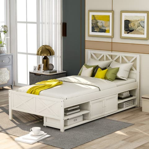 AOOLIVE Pine Wood Twin Size Platform Bed with Storage, White