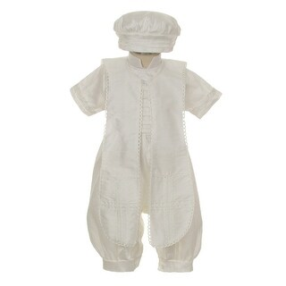 Rain Kids Baby Boys Ivory Silk Button Stole Hat Baptism Romper 6-12M