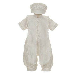 Rain Kids Little Boys Ivory Silk Button Stole Hat Baptism Romper 2-3T