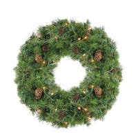 "24"" Pre-Lit Dakota Red Pine Artificial Christmas Wreath - Clear Dura Lights"