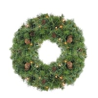 "24"" Pre-Lit Dakota Red Pine Artificial Christmas Wreath - Clear Dura Lights - green"