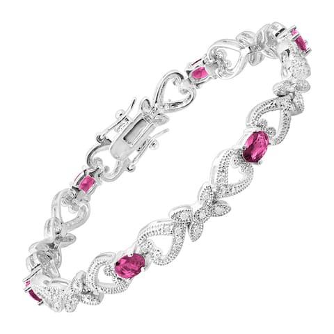 "Pink Glass Heart Tennis Bracelet with Cubic Zirconia in Rhodium-Plated Bronze, 7.25"""