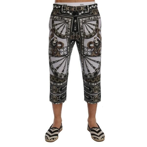 13ad4912 Shop Dolce & Gabbana Multicolor Dragon Print Capri Pants - Ships To ...
