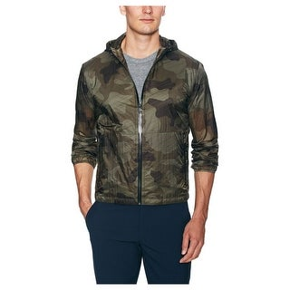Zegna Sport Green Camouflage Print Rain Jacket X-Large XL Hooded Lightweight