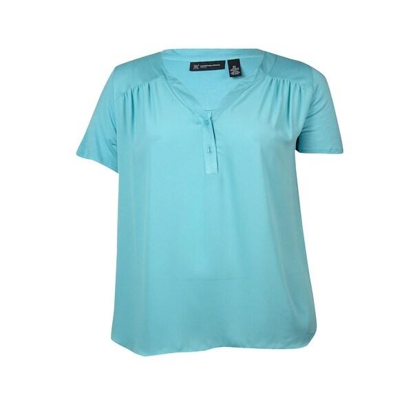 INC Women's Short Sleeve V-neck Blouse - Aqua Tide - 0X