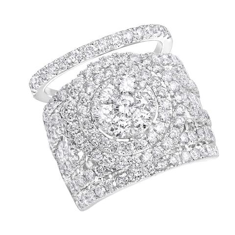14k Gold Large 5 1/2ct Cluster Diamond Engagement Ring Bridal Set