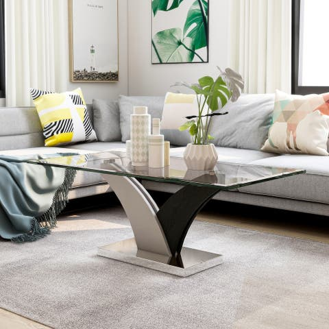 Furniture of America Quap Contemporary White Glass Top Coffee Table