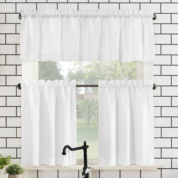 No. 918 Martine Microfiber Semi-Sheer Rod Pocket Kitchen Curtain Valance and Tiers Set