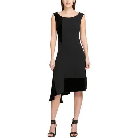 DKNY Womens Scuba Dress Asymmetric Velvet