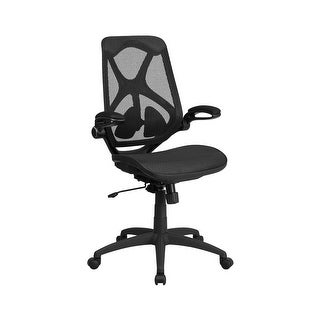 Offex High Back Black Mesh Executive Swivel Office Chair with Mesh Seat ,2-Paddle Control and Flip-Up Arms