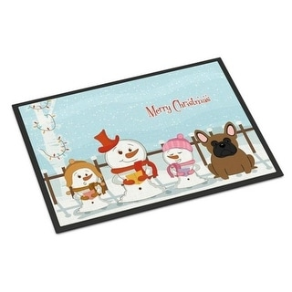 Carolines Treasures BB2344MAT Merry Christmas Carolers French Bulldog Brown Indoor or Outdoor Mat 18 x 0.25 x 27 in.