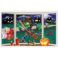 """Pack of 6 Crazy Crashing Witch Insta-View Halloween Wall Decorations 38"""" x 62"""" - Multi"""